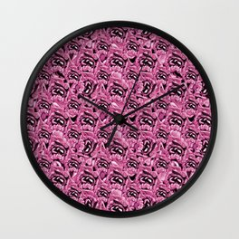 Floral Pink Collage Pattern Wall Clock