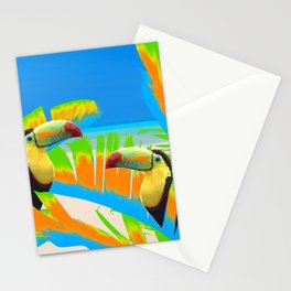 Colorful Toucans Tropical Banana Leaves Pattern Stationery Cards