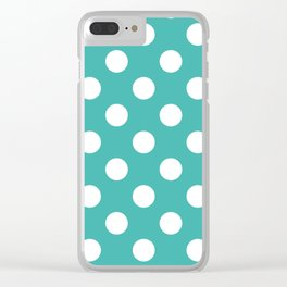 Verdigris - blue - White Polka Dots - Pois Pattern Clear iPhone Case