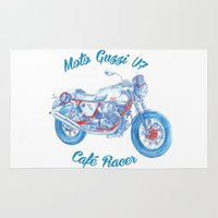 moto Area & Throw Rugs featuring moto guzzi - cafe racer by dareba