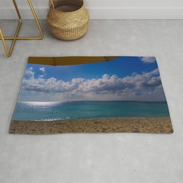 Seaside Under Umbrellas Rug