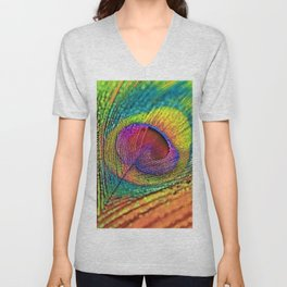 AnimalColor_Peacock_001_by_JAMColors Unisex V-Neck