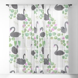 Black Swan Day Pattern Play Sheer Curtain