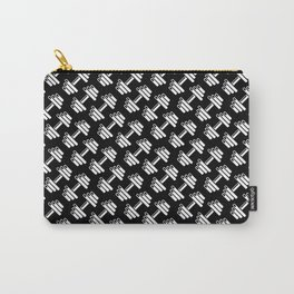 Dumbbellicious inverted / Black and white dumbbell pattern Carry-All Pouch