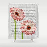 writing Shower Curtains featuring Old Writing by Susann Mielke