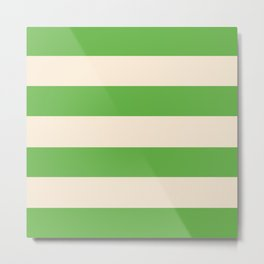 Antique White and Apple Green Stripes Metal Print