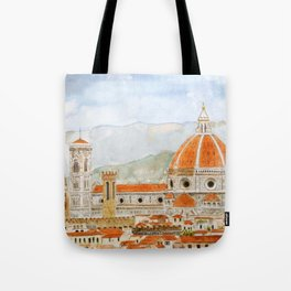 Italy Florence Cathedral Duomo watercolor painting Tote Bag
