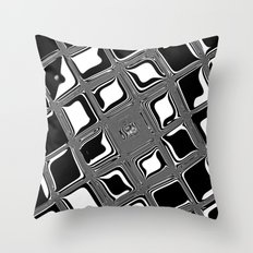 Black and white abstract design with fancy squared patterns on grey Throw Pillow