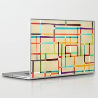 mondrian Laptop & iPad Skins featuring The map (after Mondrian) by Picomodi