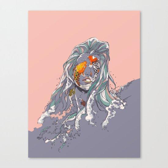 Koi and Raised Canvas Print