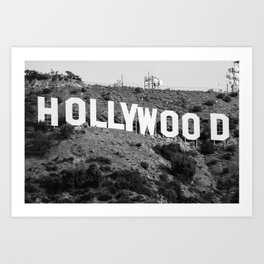 The Famous Hollywood Sign in Hollywood California in Black and White Art Print