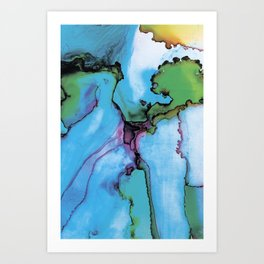 Blue cian abstract Art Print