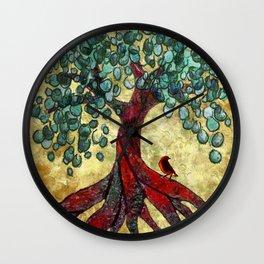 Red Oak Tree with Birdie Wall Clock