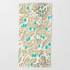 Gold & Turquoise Olive Branches Beach Towel