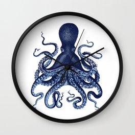 Watercolor blue vintage octopus Wall Clock