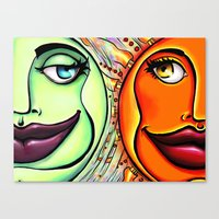 sun and moon Canvas Prints featuring Moon & Sun by spasticlizard