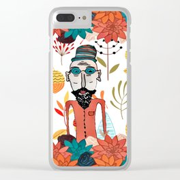 Old floral man Clear iPhone Case