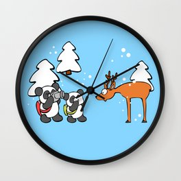 Pandas tourists Wall Clock