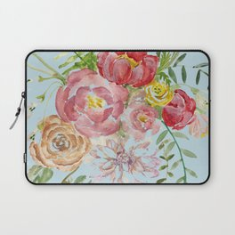 Bouquet of Watercolor on Blue Background Laptop Sleeve