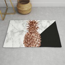 Rose gold pineapple white marble & black color block  Rug