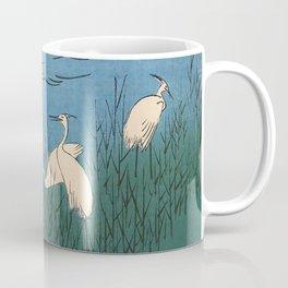 Egrets at Ferry Vintage Ukiyo-e Woodblock Print Coffee Mug