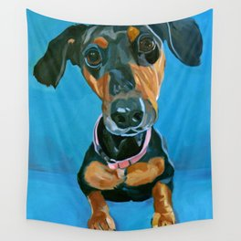 Sassy the Dashchund Dog Portrait Wall Tapestry
