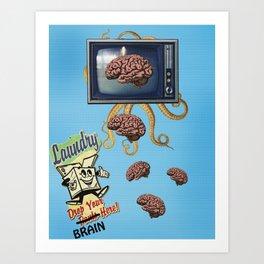 Fake News - Brainwashing - Octopus - Laundry Digital Collage Artwork Art Print