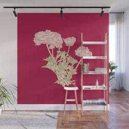 Ranunculus bunch - red Wall Mural