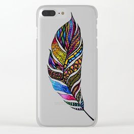 Colorful Watercolor Hand Drawn Tangle Feather Clear iPhone Case