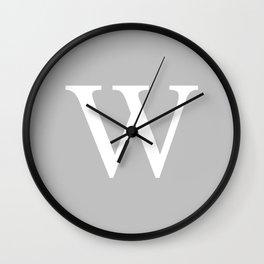 Silver Gray Basic Monogram W Wall Clock
