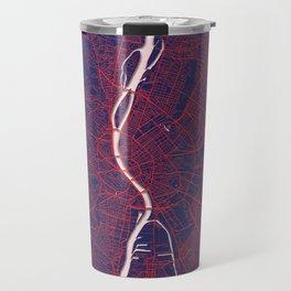 Budapest, Hungary, City, Map, Blue, White, Map, Art, Print Travel Mug