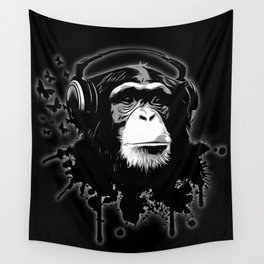 Monkey Business - Black Wall Tapestry
