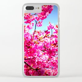 pink FLowers blue sky Clear iPhone Case