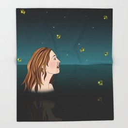 Swimming With Fireflies Throw Blanket