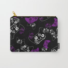 Video Game Purple on Black Carry-All Pouch