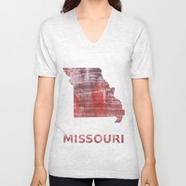 Missouri map outline Striped red watercolor design Unisex V-Neck
