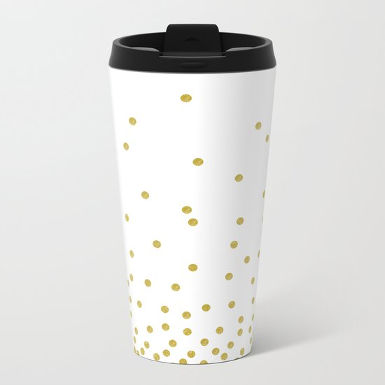 Golden Confetti Metal Travel Mug