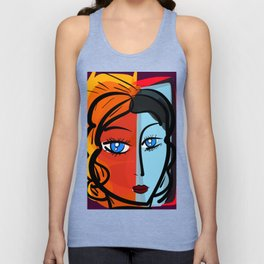 Red Blue Pop Girl Portrait Expressionist Art Unisex Tank Top
