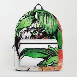 Green Leaves in the red Plant Pot Backpack