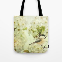 Black Capped Chickadee on Spring Flower A160 Tote Bag