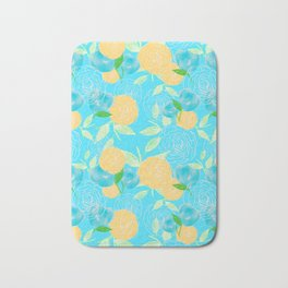 06 Yellow Blooms on Blue Bath Mat