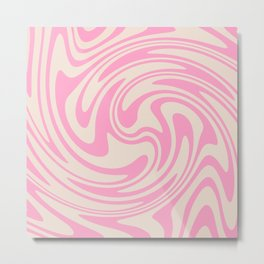 70s Retro Swirl Pink Color Abstract Metal Print