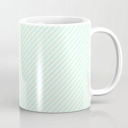 Mini Pale Summer Mint Green Pastel and White Candy Cane Stripes Coffee Mug