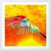 parrot Art Prints featuring Parrot by Ganech joe