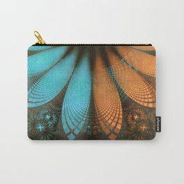 Shikoba Fractal -- Beautiful Leather, Feathers, and Turquoise Carry-All Pouch