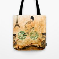 "tour de france Tote Bags featuring Monsieur Bone and "" le  Tour de France "" by Ganech joe"