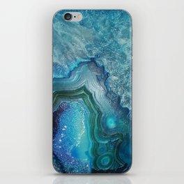 Aqua Turquoise Crystal Mineral Gem Agate iPhone Skin