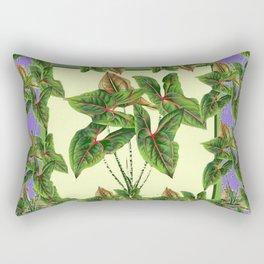 Green Tropical Botanical Foliage  Lilac-Black Art Rectangular Pillow