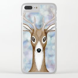 white-tailed deer woodland animal portrait Clear iPhone Case