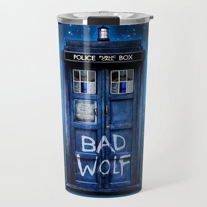 Phone box doctor with Bad wolf graffiti Travel Mug